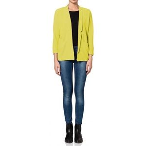 Vero Moda Neon Yellow Daretoo Open Jacket Blazer